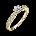 Florence Side Stones | Zásnubní prsten se středovým kamenem 0.25 ct, žluté zlato, s diamanty