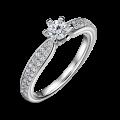 Florence Side Stones | Zásnubní prsten se středovým kamenem 0.25 ct, bílé zlato, s diamanty
