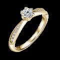 Minerva Side Stones   Zásnubní prsten se středovým kamenem 0.25 ct, žluté zlato, s diamanty