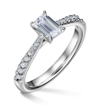 Arlene Side Stones | Zásnubní prsten se středovým kamenem 0.73 ct, bílé zlato, s diamanty