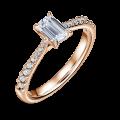 Arlene Side Stones | Zásnubní prsten se středovým kamenem 0.73 ct, růžové zlato, s diamanty