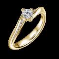 Freya Side Stones   Zásnubní prsten se středovým kamenem 0.25ct, žluté zlato, s diamanty