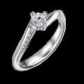 Freya Side Stones   Zásnubní prsten se středovým kamenem 0.25ct, bílé zlato, s diamanty