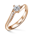 Freya Side Stones   Zásnubní prsten se středovým kamenem 0.25ct, růžové zlato, s diamanty