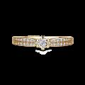 Florence Side Stones   Zásnubní prsten se středovým kamenem 0.085ct, žluté zlato, s diamanty