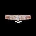Florence Side Stones | Zásnubní prsten se středovým kamenem 0.085ct, růžové zlato, s diamanty