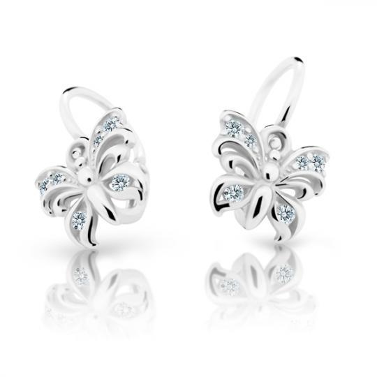 Baby earrings Danfil Butterflies C2226 White gold, White, Front backs