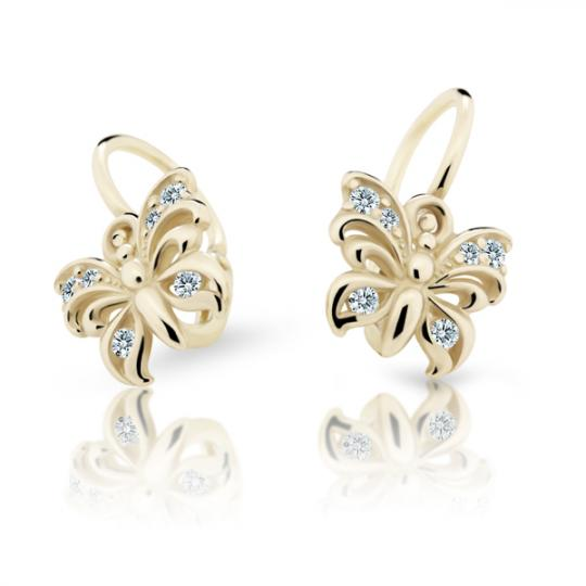 Baby earrings Danfil Butterflies C2226 Yellow gold, White, Front backs