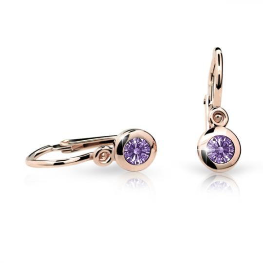 Baby earrings Danfil C1537 Rose gold, Amethyst, Front backs
