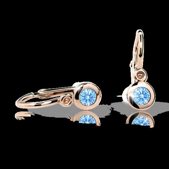 Baby earrings Danfil C1537 Rose gold, Arctic Blue, Front backs