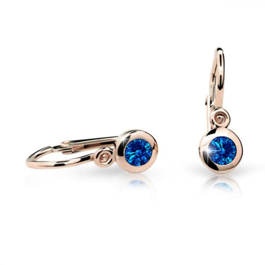 Baby earrings Danfil C1537 Rose gold, Dark Blue, Front backs