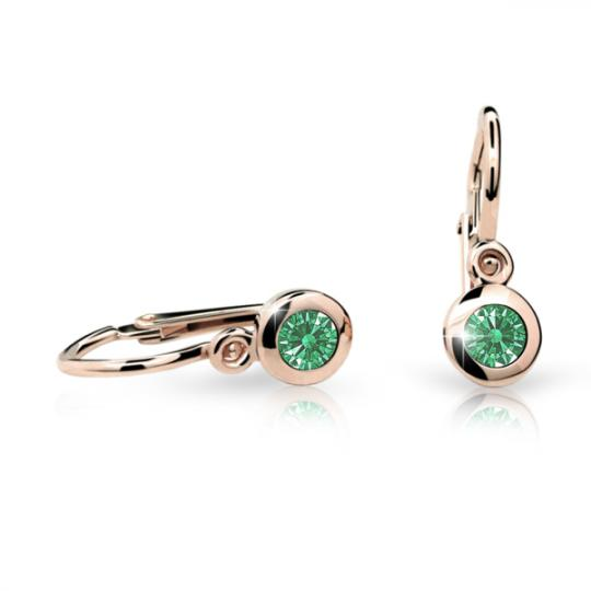 Baby earrings Danfil C1537 Rose gold, Emerald Green, Front backs
