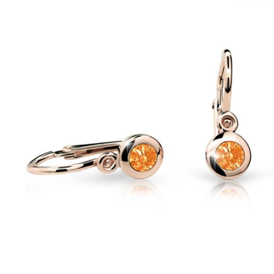 Baby earrings Danfil C1537 Rose gold, Orange, Front backs
