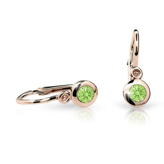 Baby earrings Danfil C1537 Rose gold, Peridot Green, Front backs