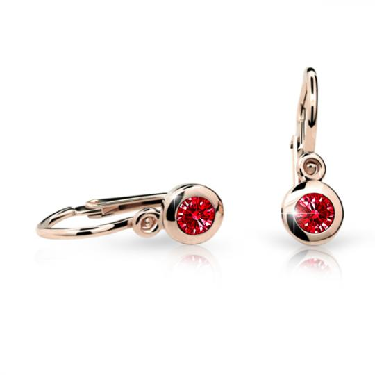 Baby earrings Danfil C1537 Rose gold, Ruby Dark, Front backs
