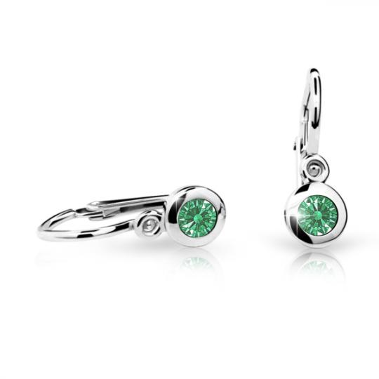 Baby earrings Danfil C1537 White gold, Emerald Green, Front backs