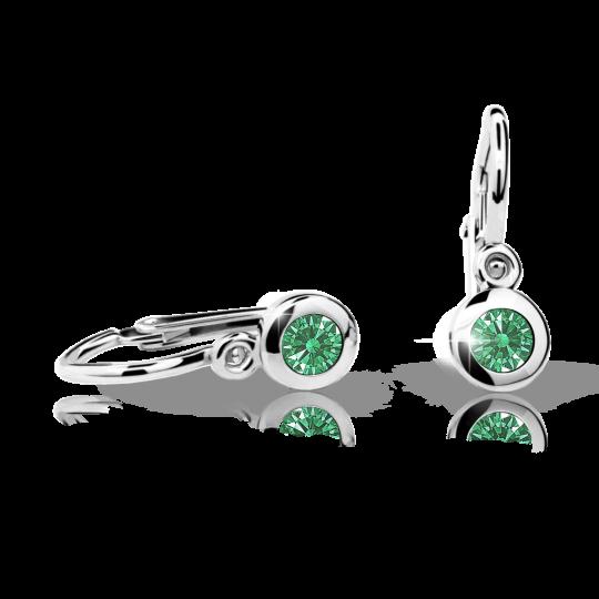Baby earrings Danfil C1537 White gold, Emerald Green, Front backs