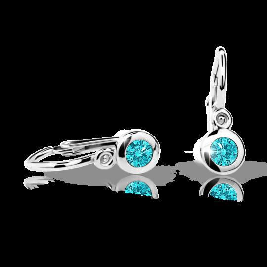Baby earrings Danfil C1537 White gold, Mint Green, Front backs