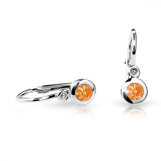 Baby earrings Danfil C1537 White gold, Orange, Front backs