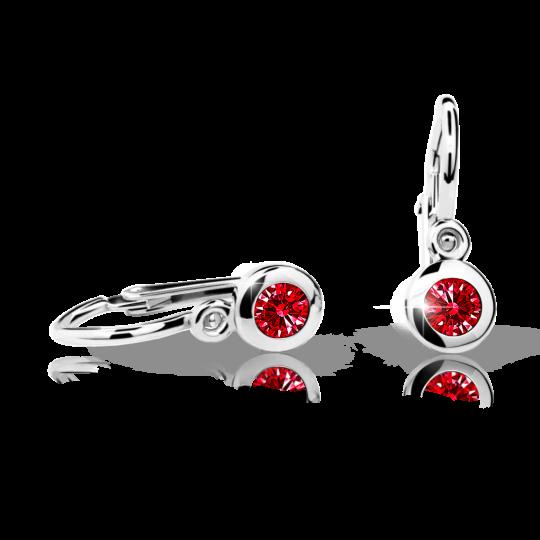 Baby earrings Danfil C1537 White gold, Ruby Dark, Front backs