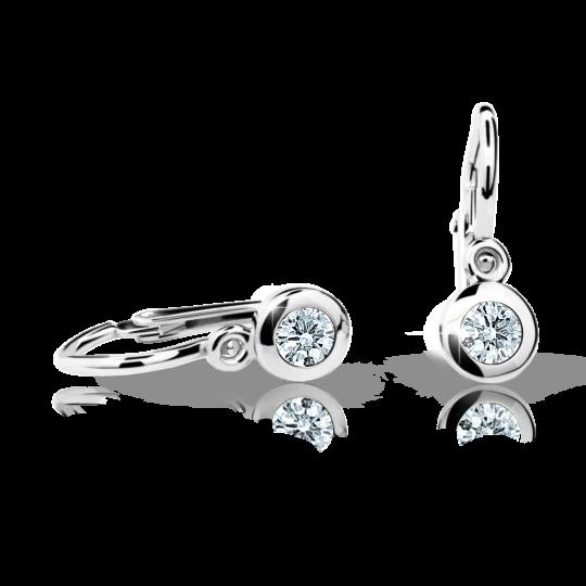 Baby earrings Danfil C1537 White gold, White, Front backs