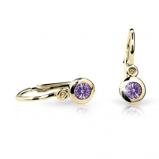 Baby earrings Danfil C1537 Yellow gold, Amethyst, Front backs