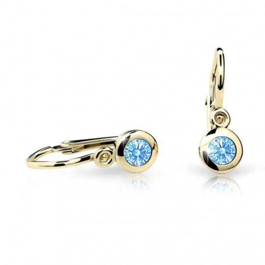 Baby earrings Danfil C1537 Yellow gold, Arctic Blue, Front backs