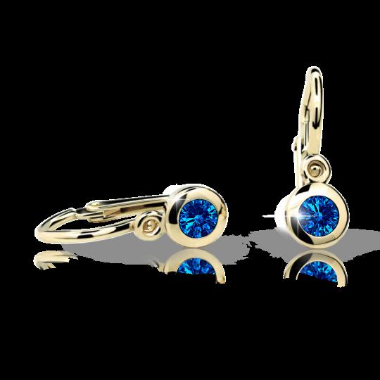 Baby earrings Danfil C1537 Yellow gold, Dark Blue, Front backs
