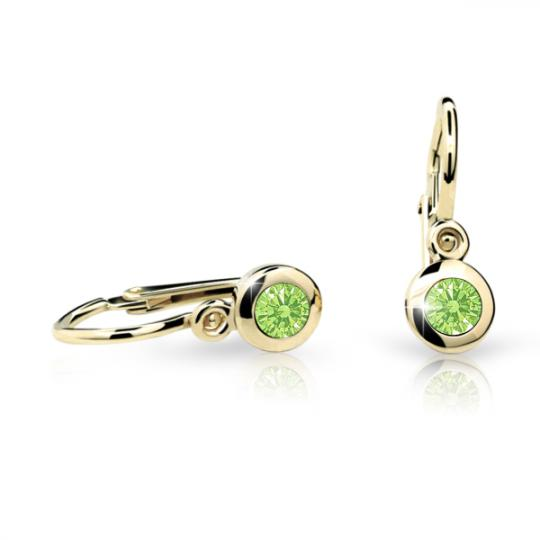 Baby earrings Danfil C1537 Yellow gold, Peridot Green, Front backs