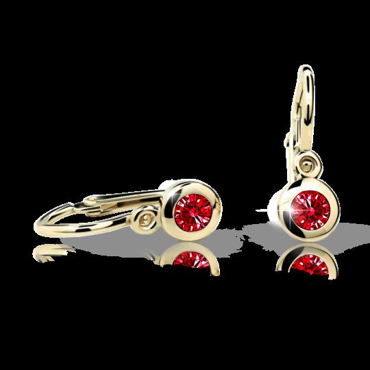 Baby earrings Danfil C1537 Yellow gold, Ruby Dark, Front backs