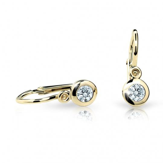 Baby earrings Danfil C1537 Yellow gold, White, Front backs