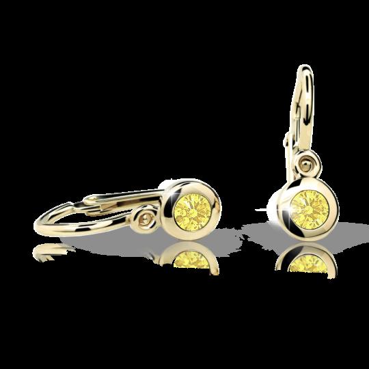 Baby earrings Danfil C1537 Yellow gold, Yellow, Front backs