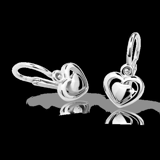 Baby earrings Danfil C1604 White gold, Front backs