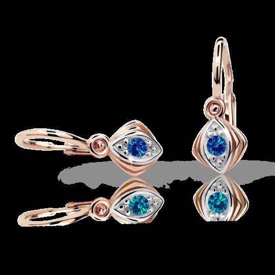 Baby earrings Danfil C1897 Rose gold, Dark Blue, Front backs