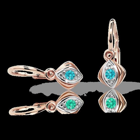 Baby earrings Danfil C1897 Rose gold, Mint Green, Front backs
