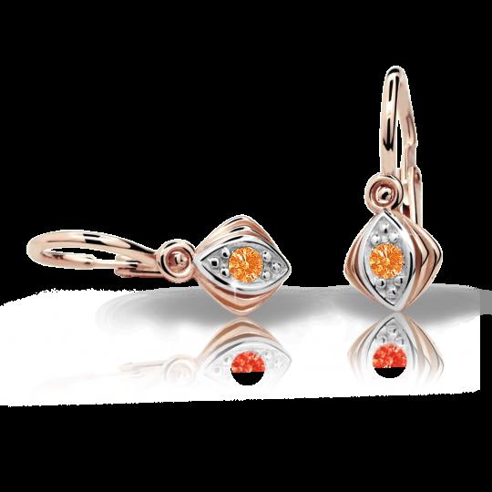Baby earrings Danfil C1897 Rose gold, Orange, Front backs