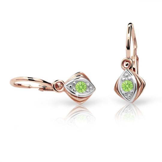 Baby earrings Danfil C1897 Rose gold, Peridot Green, Front backs