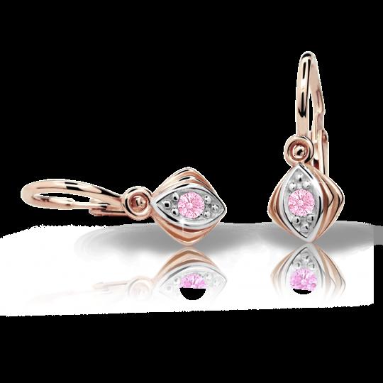 Baby earrings Danfil C1897 Rose gold, Pink, Front backs