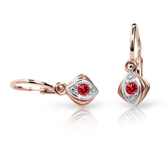 Baby earrings Danfil C1897 Rose gold, Ruby Dark, Front backs