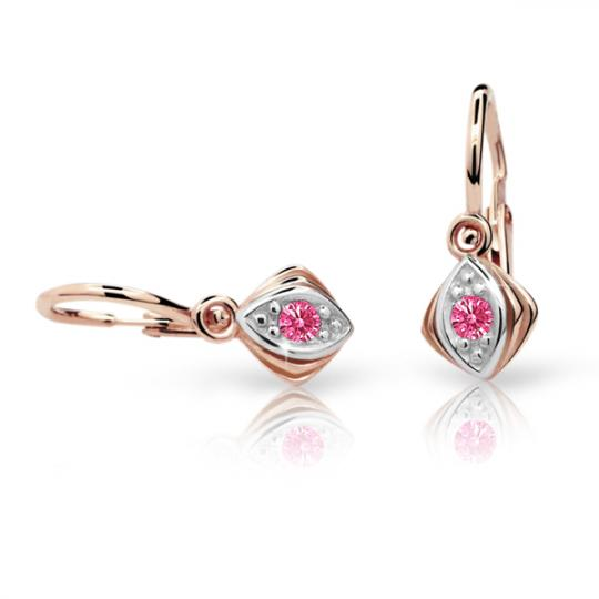 Baby earrings Danfil C1897 Rose gold, Tcf Red, Front backs