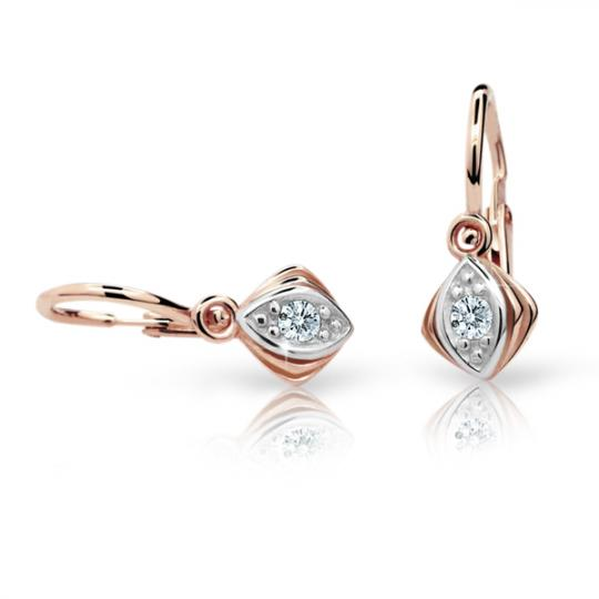 Baby earrings Danfil C1897 Rose gold, White, Front backs