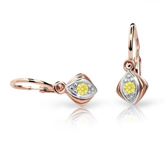 Baby earrings Danfil C1897 Rose gold, Yellow, Front backs