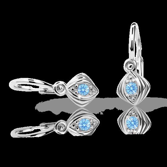 Baby earrings Danfil C1897 White gold, Arctic Blue, Front backs