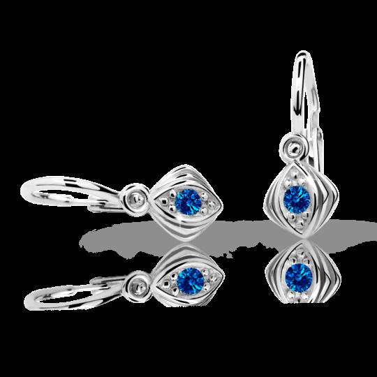 Baby earrings Danfil C1897 White gold, Dark Blue, Front backs