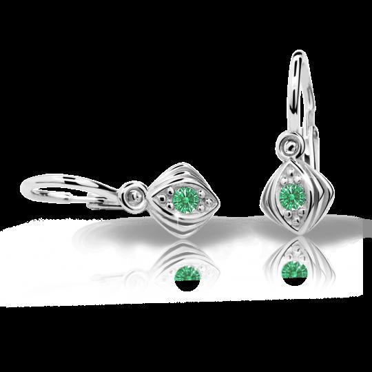 Baby earrings Danfil C1897 White gold, Emerald Green, Front backs
