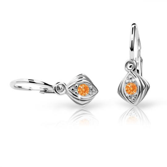 Baby earrings Danfil C1897 White gold, Orange, Front backs
