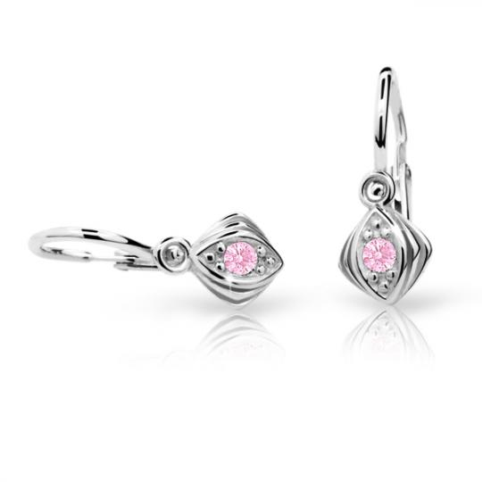 Baby earrings Danfil C1897 White gold, Pink, Front backs