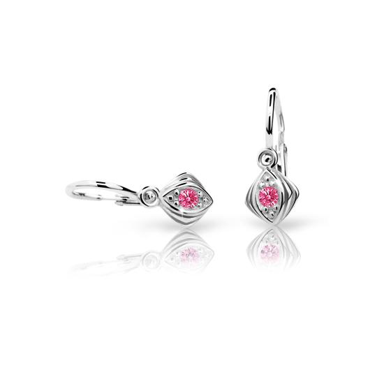 Baby earrings Danfil C1897 White gold, Tcf Red, Front backs