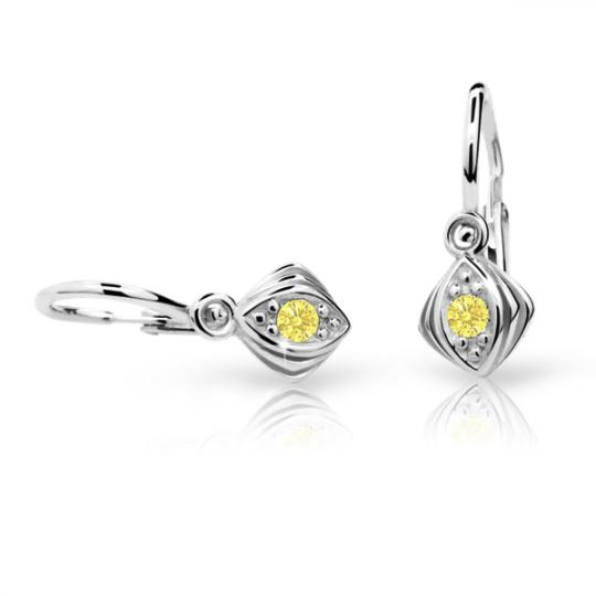 Baby earrings Danfil C1897 White gold, Yellow, Front backs