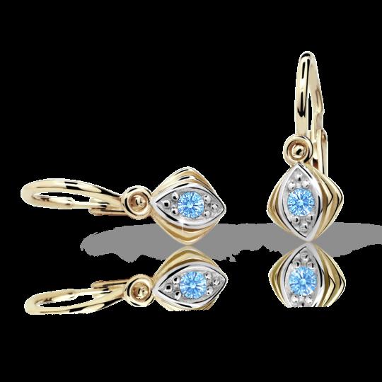 Baby earrings Danfil C1897 Yellow gold, Arctic Blue, Front backs